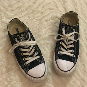 Converse black and white shoes.